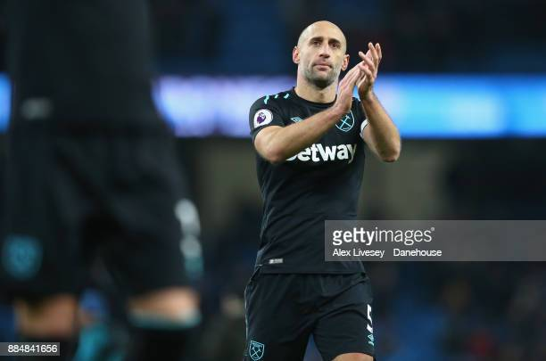 Pablo Zabaleta of West Ham United applauds his support after the Premier League match between Manchester City and West Ham United at Etihad Stadium...