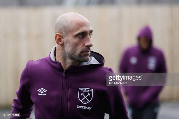 Pablo Zabaleta of West Ham United arrives at the stadium prior to the Premier League match between Burnley and West Ham United at Turf Moor on...