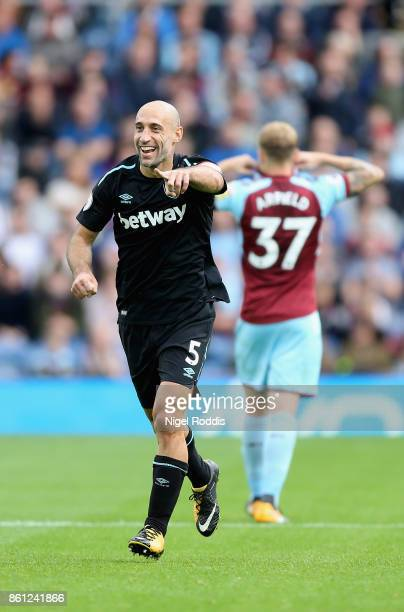 Pablo Zabaleta of West Ham United celebrates his team's goal during the Premier League match between Burnley and West Ham United at Turf Moor on...