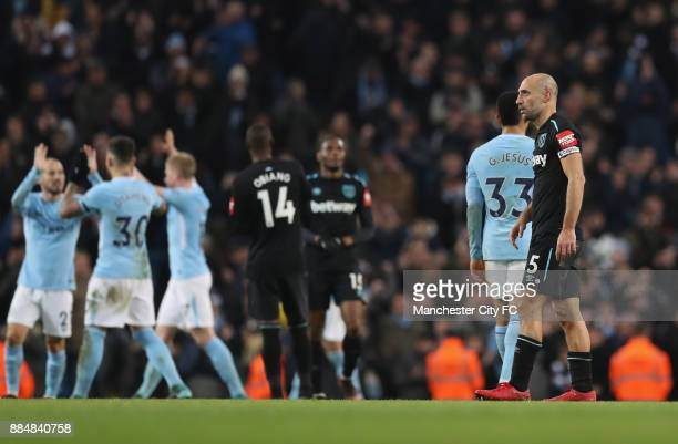 Pablo Zabaleta of West Ham United looks dejected after the Premier League match between Manchester City and West Ham United at Etihad Stadium on...