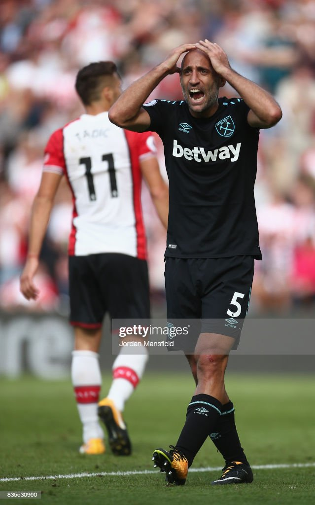 Pablo Zabaleta of West Ham United reacts to giving a penalty away during the Premier League match between Southampton and West Ham United at St Mary's Stadium on August 19, 2017 in Southampton, England.