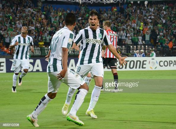 Pablo Zeballos of Atletico Nacional celebrates after scoring the opening goal during a match between Atletico Nacional and Estudiantes as part of...