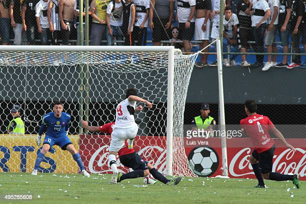 Pablo Zeballos of Olimpia scores the second goal of his team during a match between Cerro Porteño and Olimpia as part of 17th round of APF Torneo...