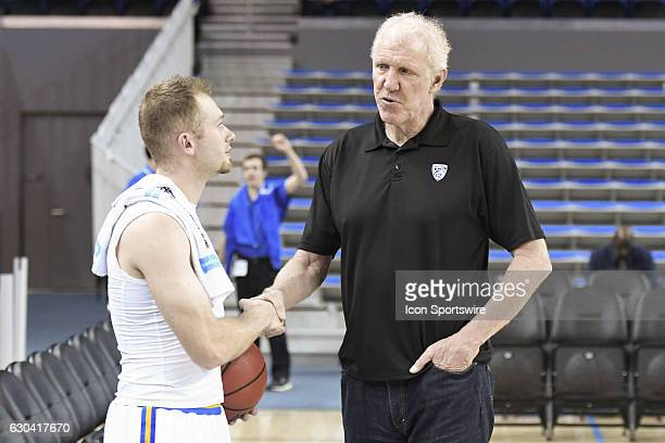 Pac12 Announcer Bill Walton chats with UCLA guard Bryce Alford before an NCAA basketball game between the UC Santa Barbara Gauchos and the UCLA...
