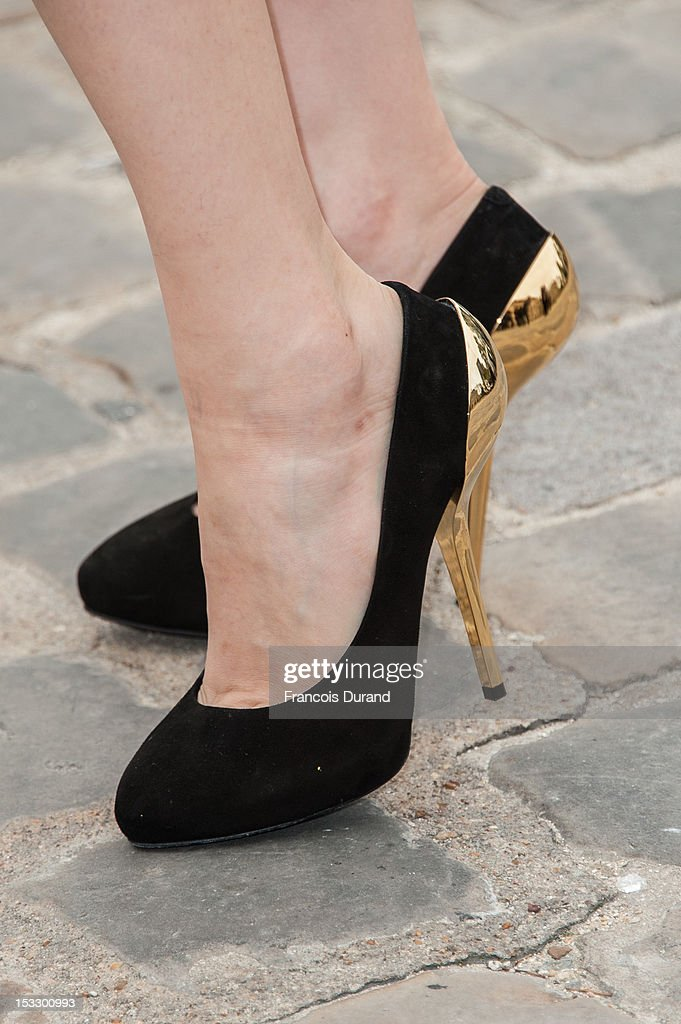 Pace Wu (shoe detail) arrives at the Louis Vuitton Spring/Summer 2013 show as part of Paris Fashion Week on October 3, 2012 in Paris, France.