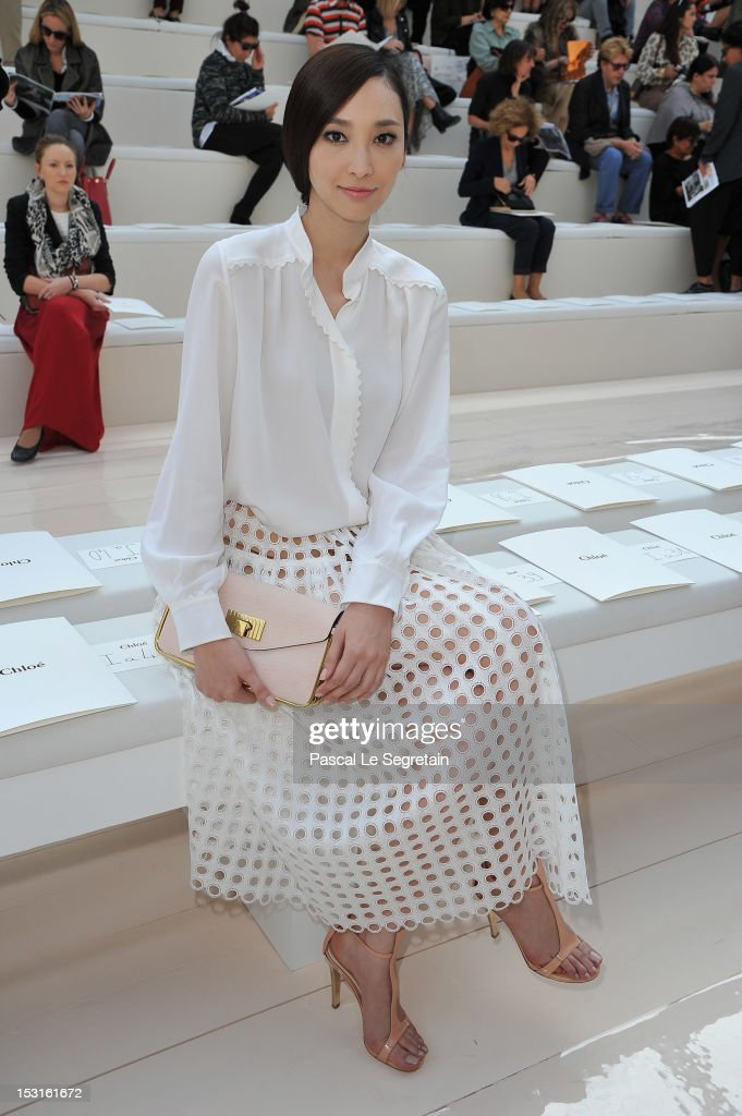 Pace Wu attends Chloe Spring / Summer 2013 show as part of Paris Fashion Week at Espace Ephemere Tuileries on October 1, 2012 in Paris, France.