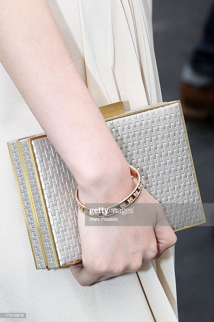 <a gi-track='captionPersonalityLinkClicked' href=/galleries/search?phrase=Pace+Wu&family=editorial&specificpeople=663581 ng-click='$event.stopPropagation()'>Pace Wu</a> (clutch bag detail) attends the Elie Saab show as part of Paris Fashion Week Haute-Couture Fall/Winter 2013-2014 at Palais Brongniart on July 3, 2013 in Paris, France.
