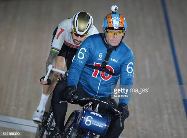 Pacer Michel Vaarten compete in the 60 Lap Derny during day six of the Six Day London Cycling Event at the Velodrome Lee Valley Velopark Queen...