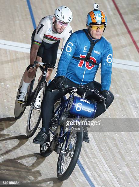Pacer Michel Vaarten with Mark Cavendish compete in the 60 Lap Derny during day six of the Six Day London Cycling Event at the Velodrome Lee Valley...