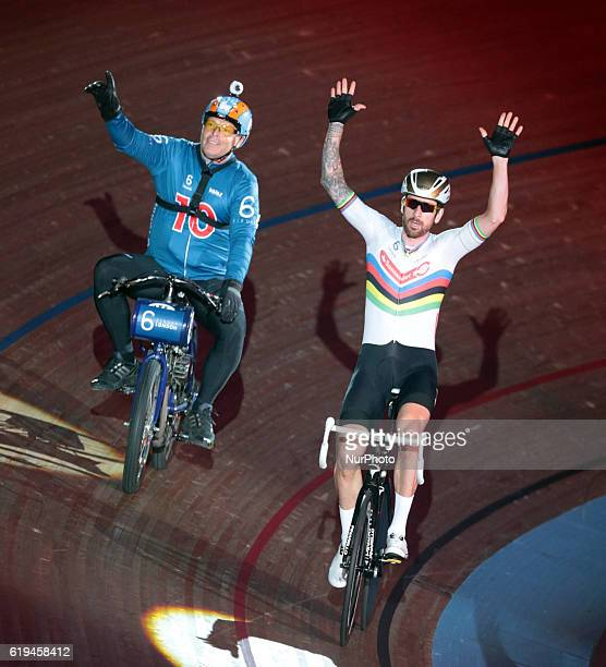Pacer Michel Vaarten with Sir Bradley Wiggins compete in the 60 Lap Derny during day six of the Six Day London Cycling Event at the Velodrome Lee...