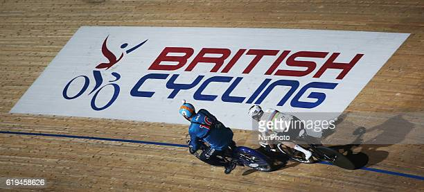 Pacer Michel Vaarten with Sir Bradley Wiggins compete in the 60 Lap Dernyduring day six of the Six Day London Cycling Event at the Velodrome Lee...