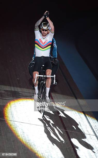 Pacer Michel Vaarten with Sir Bradley Wiggins winners in the 60 Lap Derny during day six of the Six Day London Cycling Event at the Velodrome Lee...