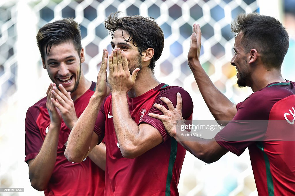 Paciencia of Portugal celebrates a goal during the Group D match between Algeria and Portugal on Day 5 of the Rio 2016 Olympic Games at Mineirao...