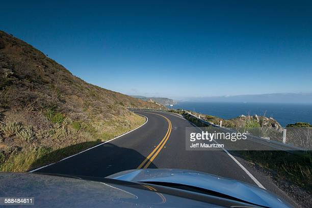 Pacific Coast Highway seen from a car in California.