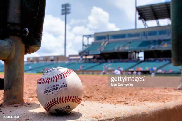 Pacific Coast League baseball displayed during the minor league game between the Colorado Springs Sky Sox and the New Orleans Baby Cakes on June 25...
