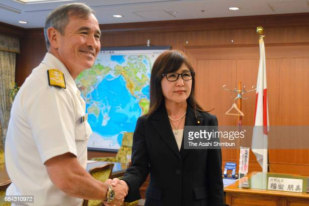 US Pacific Commander Admiral Harry Harris shakes hands with Japanese Defense Minister Tomomi Inada at Defense Ministry on May 16 2017 in Tokyo Japan