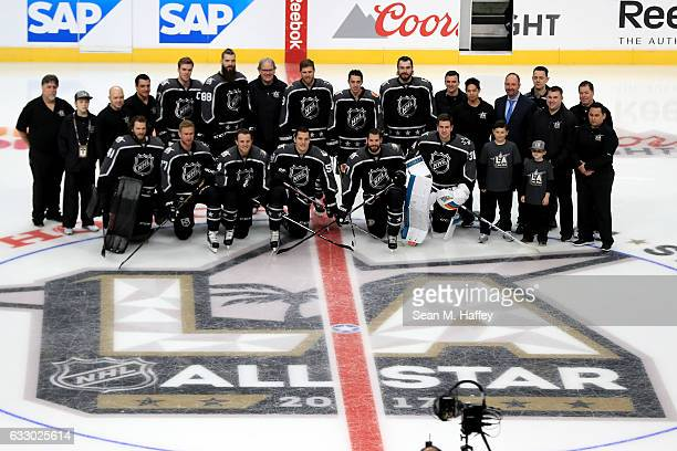 Pacific Division players and coaches pose on the ice prior to the 2017 Honda NHL AllStar Game at Staples Center on January 29 2017 in Los Angeles...