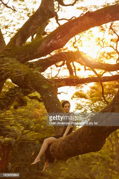 Pacific Islander woman sitting in banyan tree