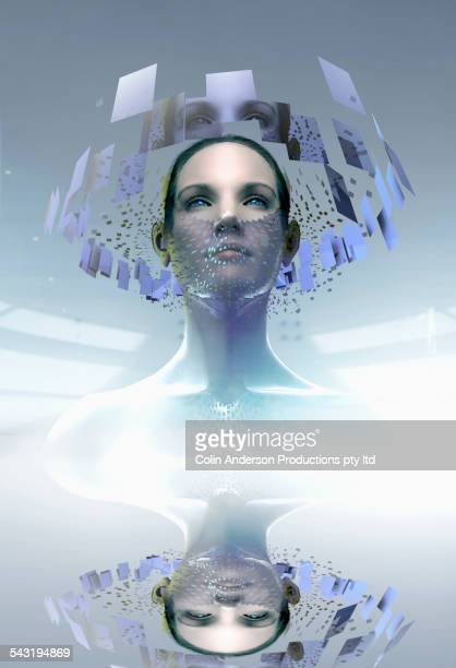 Pacific Islander woman wearing artificial technology mask in screens