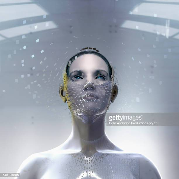 Pacific Islander woman wearing artificial technology mask