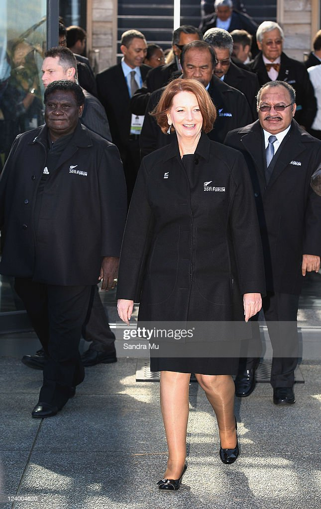 Pacific leaders Danny Philip Prime Minister of Solomon Islands (L), <a gi-track='captionPersonalityLinkClicked' href=/galleries/search?phrase=Julia+Gillard&family=editorial&specificpeople=787281 ng-click='$event.stopPropagation()'>Julia Gillard</a> Prime Minister of Australia and Peter O'Neill Prime Minister of Papua New Guinea arrive for an official photo at Cable Bay on September 8, 2011 in Auckland, New Zealand. The annual gathering of leaders of the pacific nations has attracted heavyweight list of guests this year including United Nations Secretary General Ban Ki-moon, European Commission President Jose Manuel Barroso, the French Foreign Minister and the US Deputy Secretary of State. The forum conclusion coincides with the Opening Ceremony of the Rugby World Cup.
