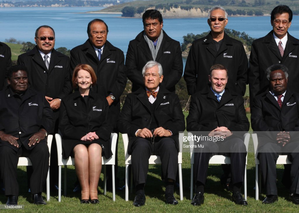 Pacific leaders (Back row L-R) Peter O'Neill Prime Minister of Papua New Guinea, Jurelang Zedkaia President of Marshall Islands, Lord Tu'ivakano Prime Minister of Tonga, Toke Talagi Premier of Niue, Emanuel Mori President of Micronesia and ( Front row (L-R) Danny Philip Prime Minister of Solomon Islands, <a gi-track='captionPersonalityLinkClicked' href=/galleries/search?phrase=Julia+Gillard&family=editorial&specificpeople=787281 ng-click='$event.stopPropagation()'>Julia Gillard</a> Prime Minister of Australia, Tuiloma Neroni Slade Secretary General, John Key Prime Minister of New Zealand and Vanuatu Representive Athy Sineon pose for an official photo at Cable Bay on September 8, 2011 in Auckland, New Zealand. The annual gathering of leaders of the pacific nations has attracted heavyweight list of guests this year including United Nations Secretary General Ban Ki-moon, European Commission President Jose Manuel Barroso, the French Foreign Minister and the US Deputy Secretary of State. The forum conclusion coincides with the Opening Ceremony of the Rugby World Cup.