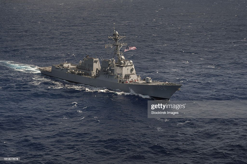 Pacific Ocean, January 31, 2013 - The Arleigh Burke-class guided-missile destroyer USS Stockdale (DDG 106) transits the western Pacific Ocean.