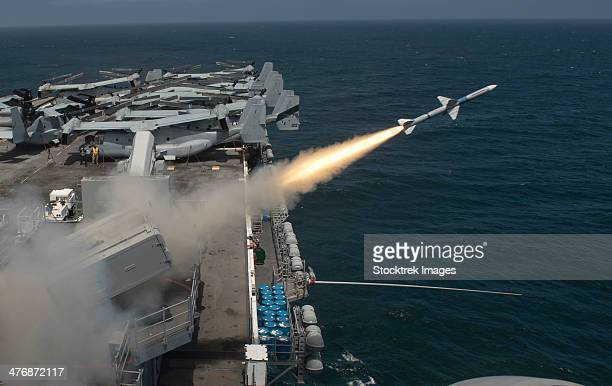 Pacific Ocean, July 18, 2013 - A RIM-7P Sea Sparrow missile is launched from the amphibious assault ship USS Boxer (LHD-4) during a missile firing exercise.
