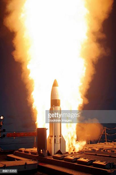 Pacific Ocean, November 17, 2005 - A Standard Missile Three is launched from the vertical launch system aboard the Pearl Harbor based Aegis cruiser USS Lake Erie (CG-70), during a joint Missile Defense Agency, U.S. Navy ballistic missile flight test.