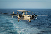 Pacific Ocean, October 18, 2012 - An E-2C Hawkeye prepares to land aboard the aircraft carrier USS Nimitz (CVN 68).
