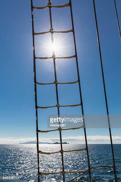 Pacific Ocean, rope ladder of a sailing ship at Galapagos Islands