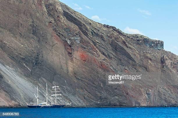 Pacific Ocean, sailing ship at Isabela Island, Galapagos Islands