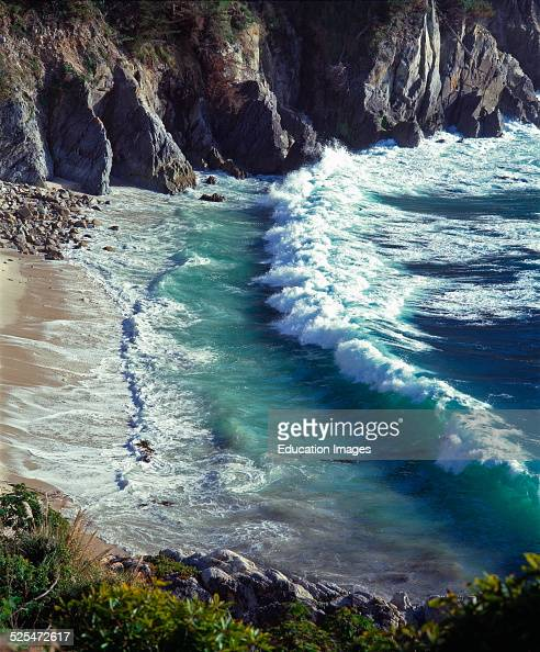 A Pacific Wave Meets The Shore In The Carmel Highlands Monterey Bay Sanctuary California