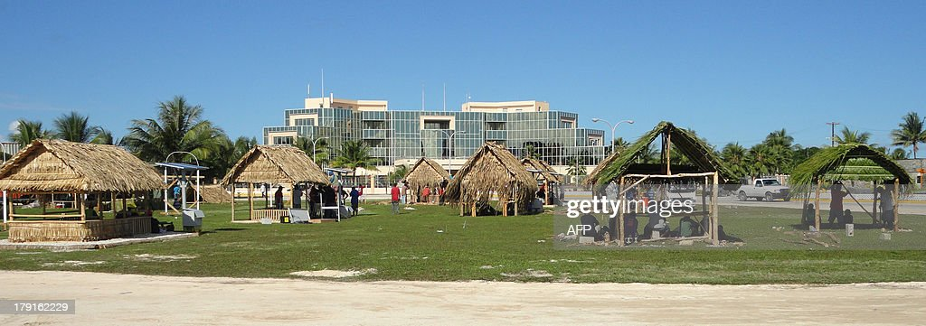 PacificdiplomacysummitMarshallsUSChinaADVANCER by Giff Johnson This photo taken on August 29 2013 shows the Marshall Islands preparing a welcome for...