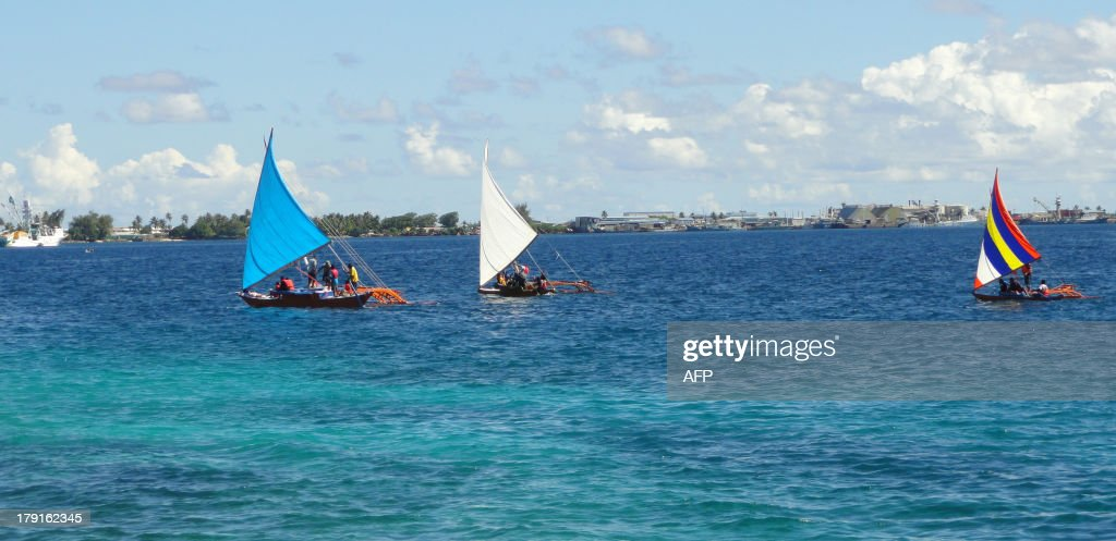 PacificdiplomacysummitMarshallsUSChinaADVANCER by Giff Johnson This photo taken on August 29 2013 shows outrigger canoes which Pacific Islands heads...