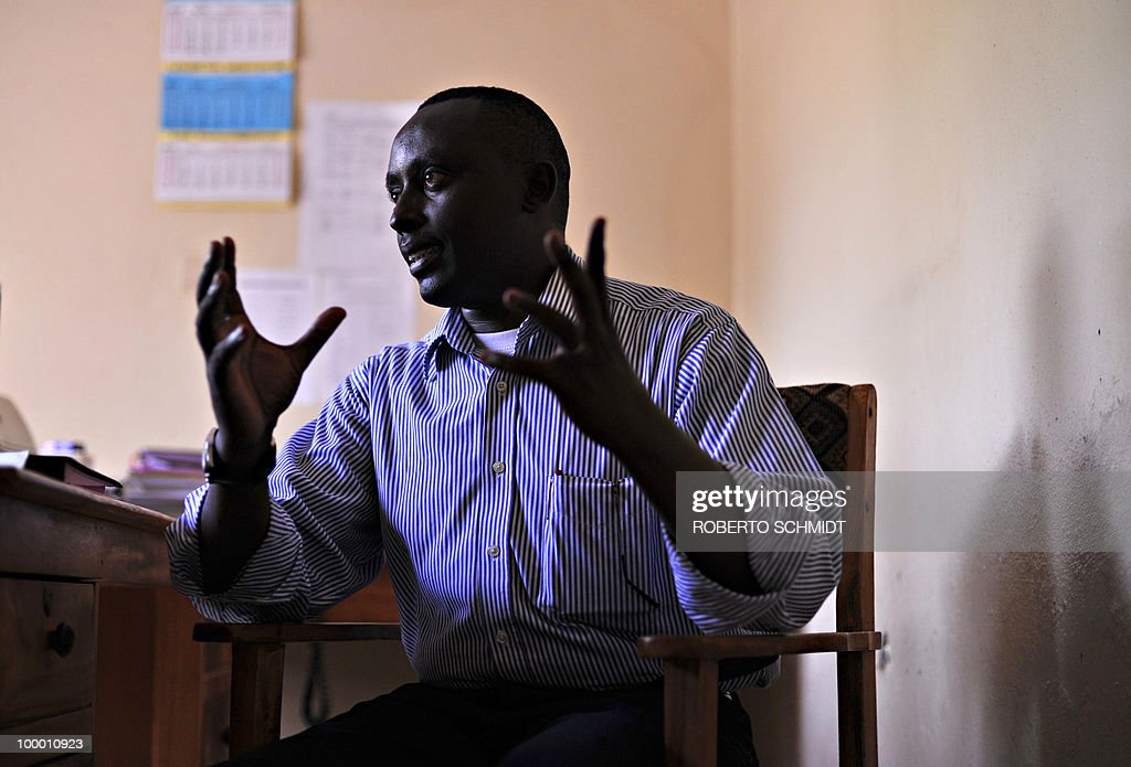 AUSSEILL --- Pacifique Nininahazwe, the Delegate General for the Forum for the Strengthening of Civil Society (FORSC), an organization for 146 Burundian civil society associations, speaks to journalists at his office in Bujumbura on May 11, 2010. Pacifique said during the interview that 'here (Burundi), the civil society is considered like a political opposition'. Human Rights Watch has urged Burundian authorities to prevent pre-election violence, as fierce competition between the ruling party and four or five strong opposition movements fuels tension between militants.