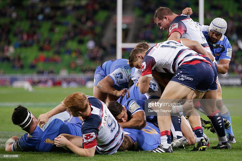 A pack of Force players push for the try line during the round 14 Super Rugby match between the Rebels and the Force at AAMI Park on May 29, 2016 in Melbourne, Australia.