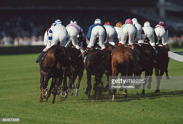 A pack of jockeys and their mounts during the 69th running of the Prix de L'Arc de Triomphe on 7 October 1990 in Longchamps near Paris France