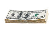 A pack of ten thousand dollars on a white background. Isolated