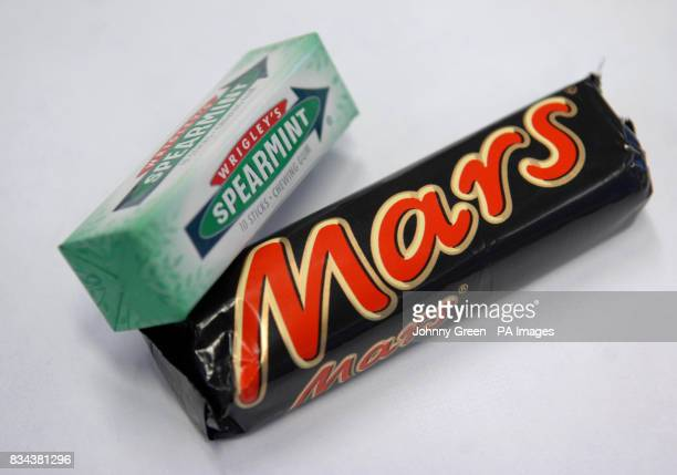 A pack of Wrigley's Spearmint and a Mars Bar products from two of America's largest confectionery groups Wrigley and Mars respectively