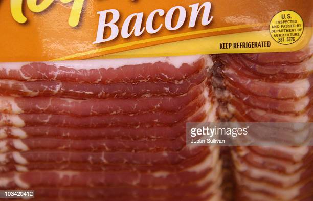 A package of bacon is displayed on a shelf at United Market August 17 2010 in San Rafael California As Americans consume more bacon supplies have...