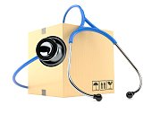 Package with stethoscope isolated on white background. 3d illustration
