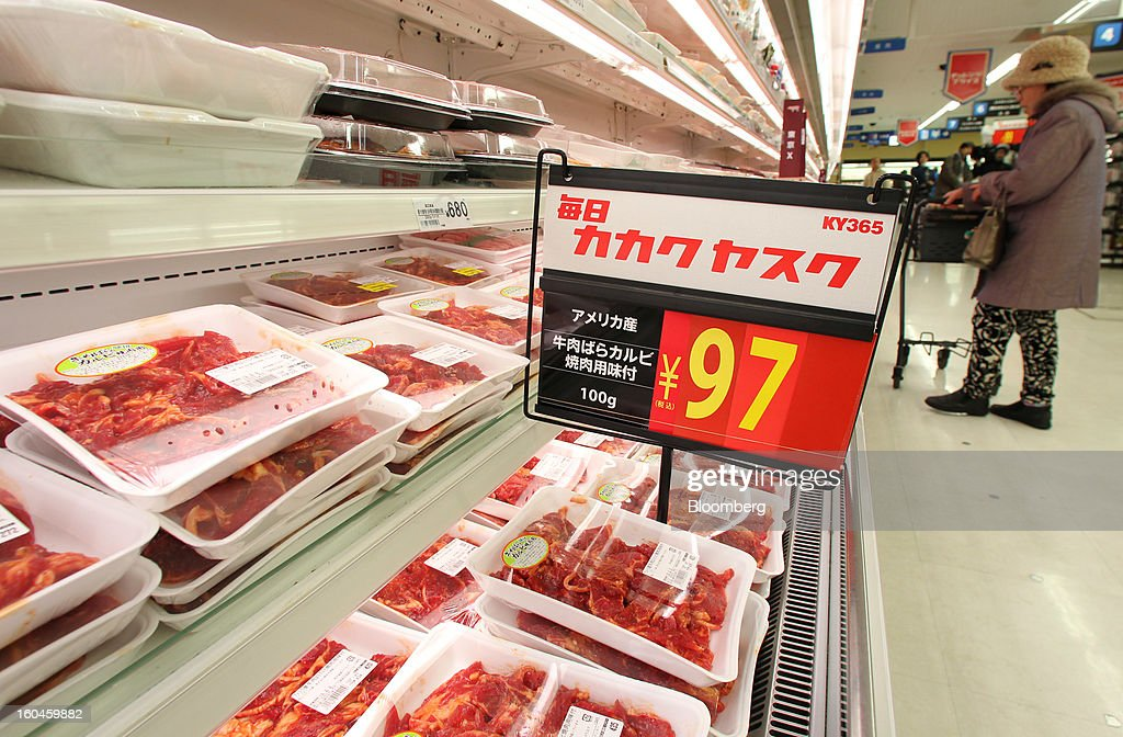 Packaged U.S. beef is displayed for sale in a Seiyu GK supermarket in Tokyo, Japan, on Friday, Feb. 1, 2013. Japan, the biggest buyer of American beef before an outbreak of mad-cow disease in 2003, will allow imports of beef from cattle up to 30-months old, from 20 months previously. Photographer: Junko Kimura/Bloomberg via Getty Images