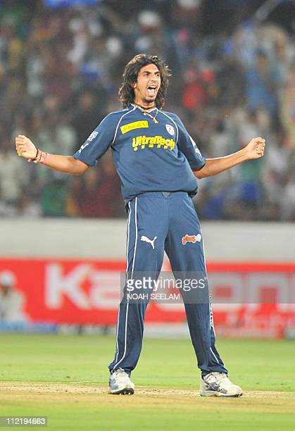 PACKAGEDeccan Chargers' bowler Ishant Sharma celebrates the wicket of Tilakaratne Dilshan during the IPL twenty 20 match between Deccan Chargers and...