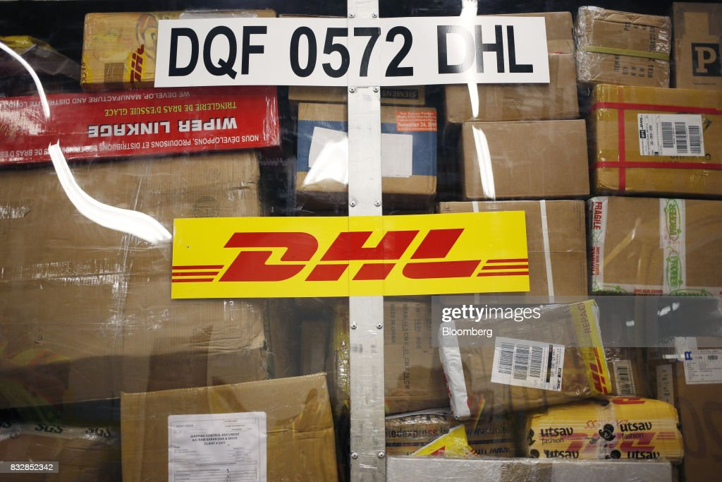 Packages are pictured inside a container at the DHL Worldwide Express hub of Cincinnati/Northern Kentucky International Airport in Hebron, Kentucky, U.S., on Wednesday, Aug. 16, 2017. The Deutsche Post AG, parent company to Worldwide Express, second-quarter operating profit jumped 12 percent as the German mail operator handled more express deliveries and won more business at its logistics unit. Photographer: Luke Sharrett/Bloomberg via Getty Images