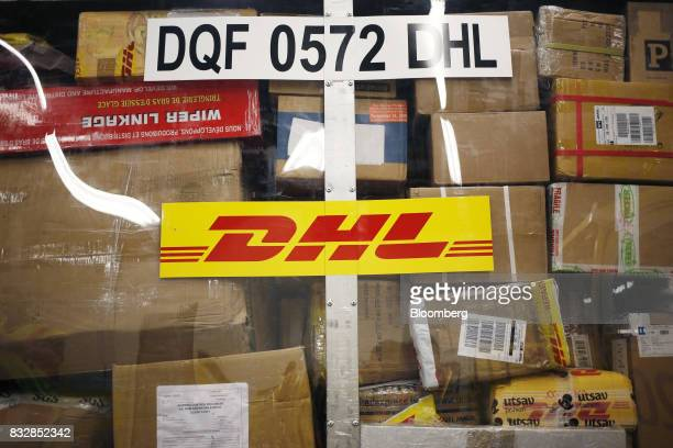 Packages are pictured inside a container at the DHL Worldwide Express hub of Cincinnati/Northern Kentucky International Airport in Hebron Kentucky US...