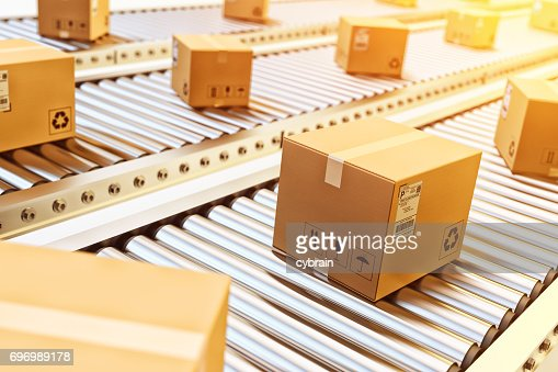 Packages delivery, packaging service and parcels transportation system concept : Stock Photo
