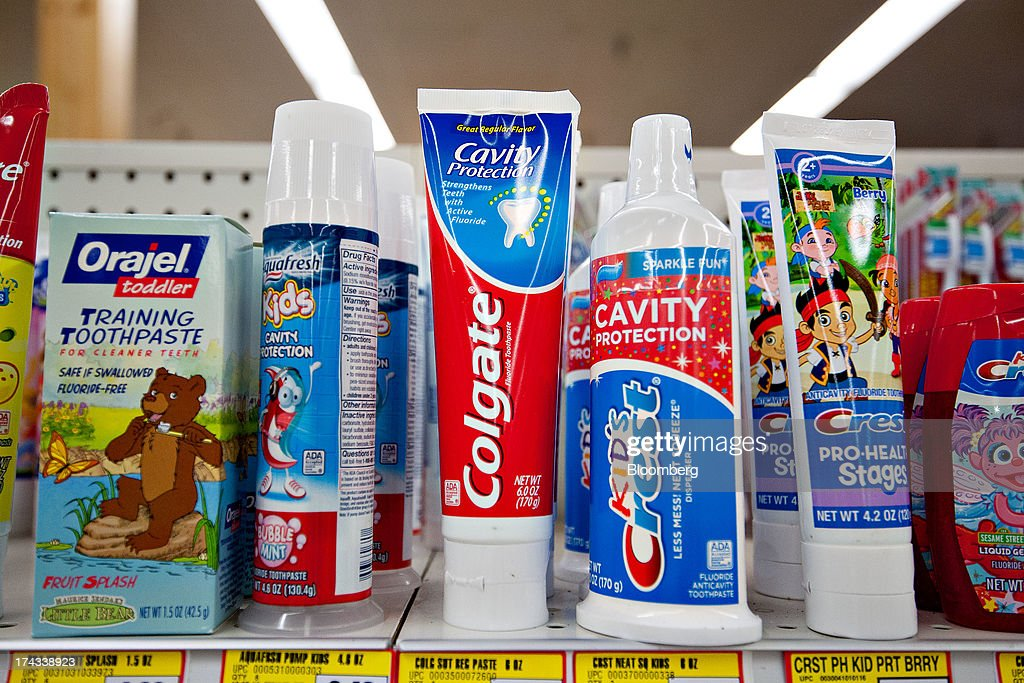 Packages of Colgate-Palmolive Co. Colgate brand toothpaste are displayed for sale on a supermarket shelf in Princeton, Illinois, U.S., on Tuesday, July 23, 2013. Colgate-Palmolive is scheduled to release second-quarter earnings on July 25. Photographer: Daniel Acker/Bloomberg via Getty Images