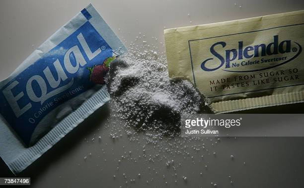Packages of Equal and Splenda artificial sweeteners are displayed at a coffee shop April 9 2007 in San Rafael California Merisant the maker of Equal...