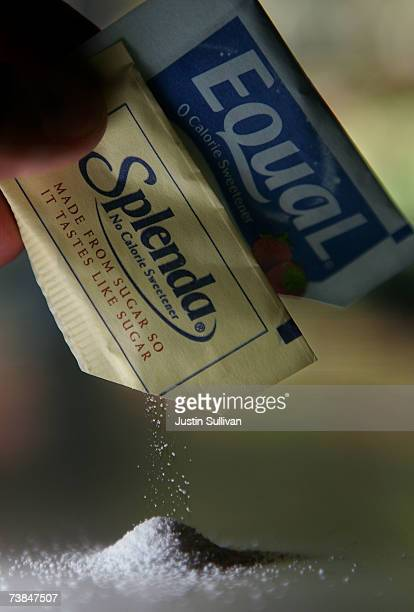 Packages of Equal and Splenda artificial sweeteners are emptied at a coffee shop April 9 2007 in San Rafael California Merisant the maker of Equal...